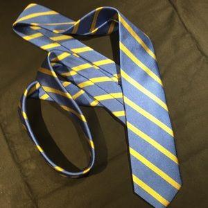 J Crew 100% Silk like new blue&gold Mens Tie